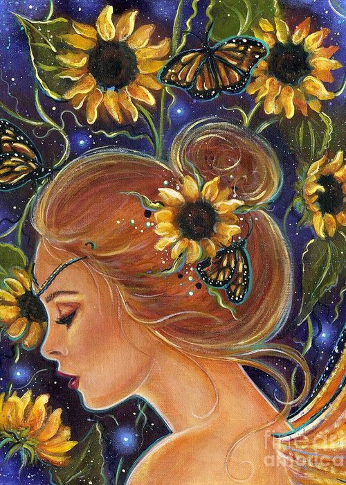 Sunflower Art Greeting Card featuring the painting Time to be free by Renee Lavoie