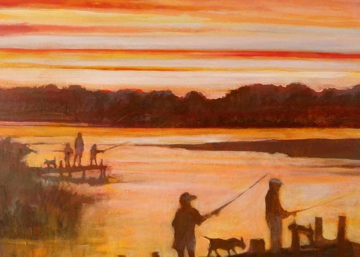 Fishing Greeting Card featuring the painting Time To Go Home by Kip Decker