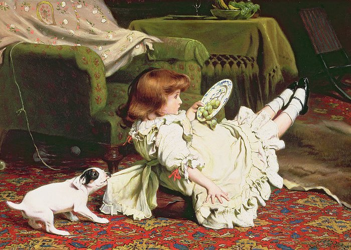 Naughty Greeting Card featuring the painting Time To Play by Charles Burton Barber