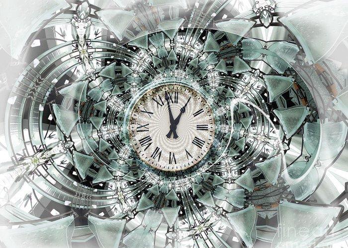 Clock Greeting Card featuring the digital art Time Warp by Chuck Brittenham