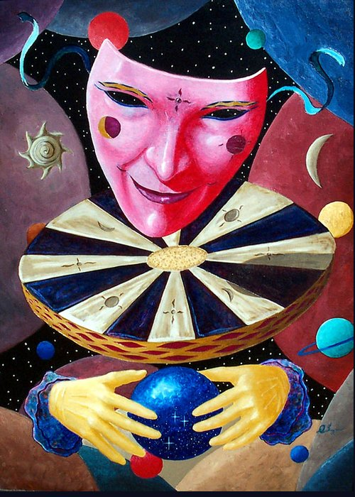 Face Greeting Card featuring the painting Timekeeper by Daniel Bergren