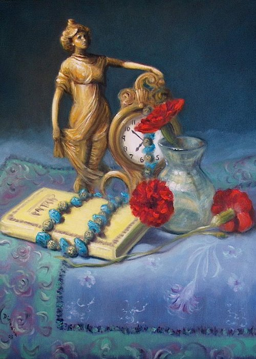 Realism Greeting Card featuring the painting Timekeeper by Donelli DiMaria