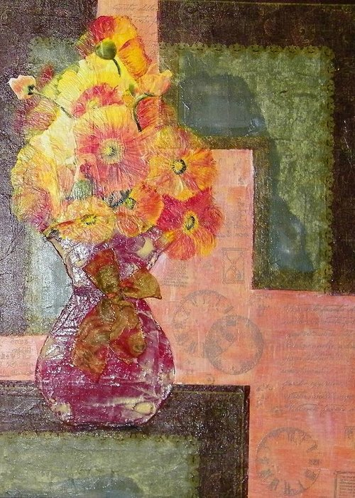 Acrylic Greeting Card featuring the painting Timeless - Flowers by Terry Honstead