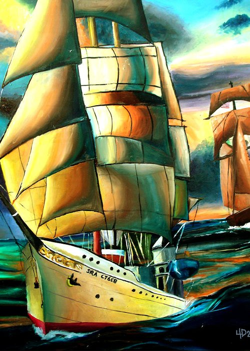 Ship Greeting Card featuring the drawing Timeless by Darcie Duranceau