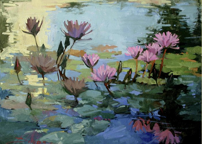 Floral Greeting Card featuring the painting Times Between - water Lilies by Betty Jean Billups