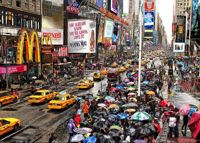 New York Greeting Card featuring the photograph Times Square 1 by Andrew Fare