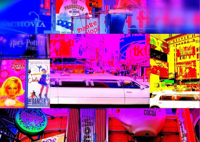 Times Square Greeting Card featuring the photograph Times Square Frenzy by Funkpix Photo Hunter