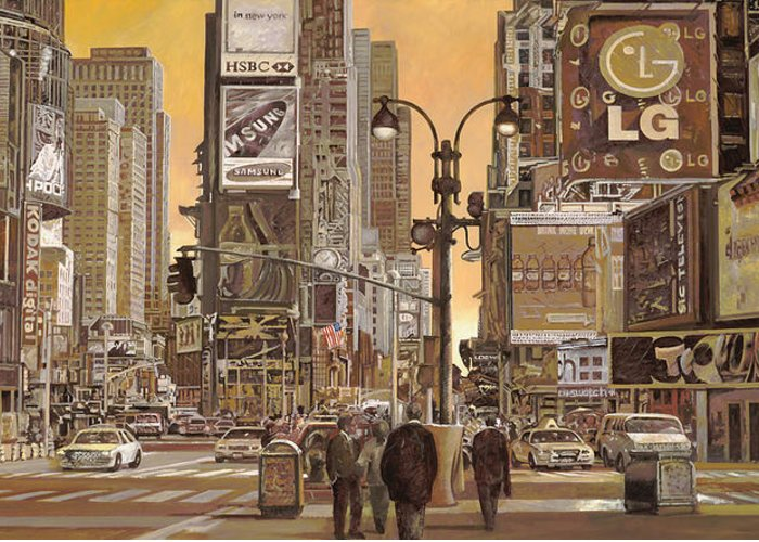Times Square Paintings Greeting Cards
