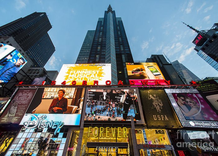 Times square in new york city 1540 broadway disney store times square greeting card featuring the photograph times square in new york city 1540 broadway m4hsunfo