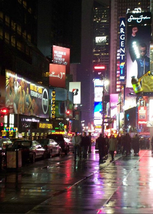 Times Square Greeting Card featuring the photograph Times Square In The Rain 1 by Anita Burgermeister