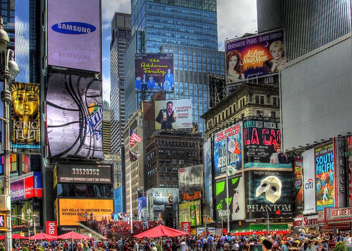 In Focus Greeting Card featuring the photograph Times Square by Joe Paniccia