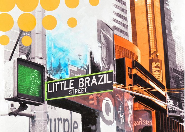 Ny Greeting Card featuring the painting Times Square Little Brazil by Jean Pierre Rousselet