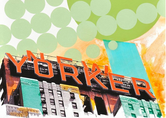 Ny Greeting Card featuring the painting Times Square New Yorker by Jean Pierre Rousselet