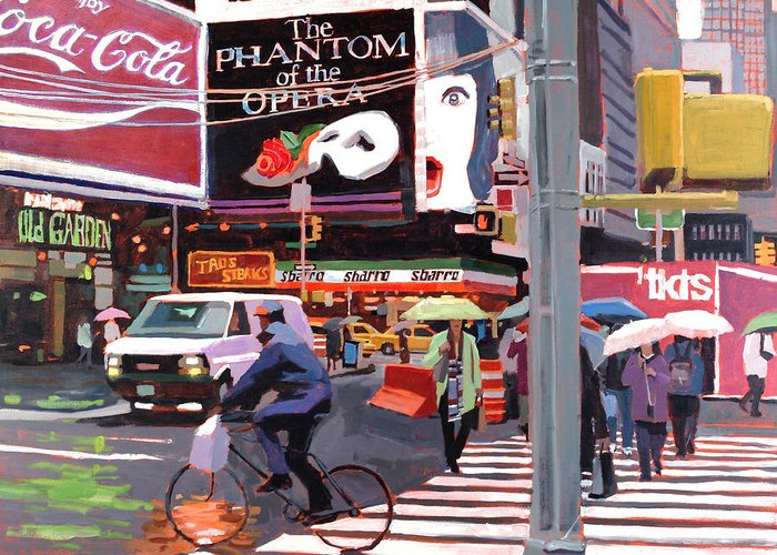Urban Greeting Card featuring the painting Times Square Umbrellas by Patti Mollica