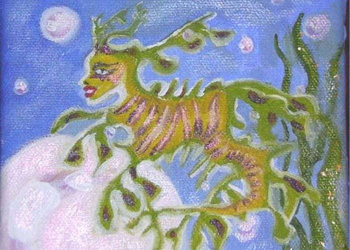 Sea Dragon Greeting Card featuring the painting Tiny Anthropomorphic Sea Dragon by Michelley QueenofQueens