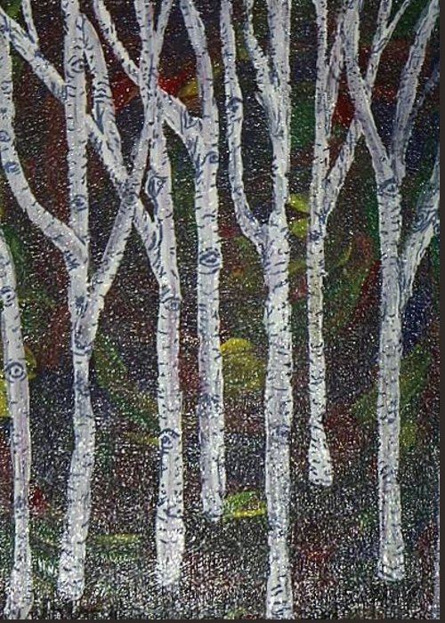 Trees Aspen Burch Forest Greeting Card featuring the painting Tiny Aspens by Sally Van Driest
