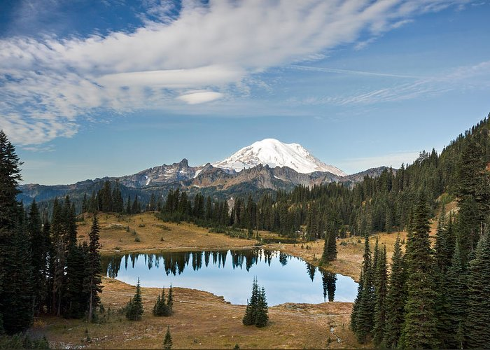 Alpine Greeting Card featuring the photograph Tipsoo Lake And Rainier by Michael Russell
