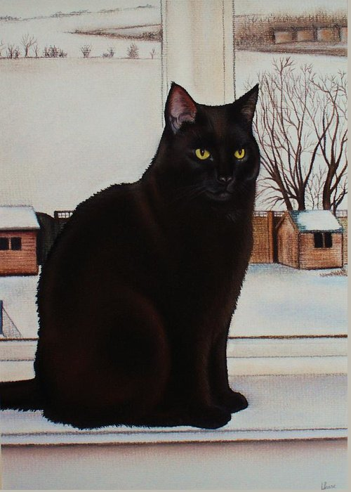 Cat Greeting Card featuring the pastel Tipsy - Winter Scene by Lucy Deane