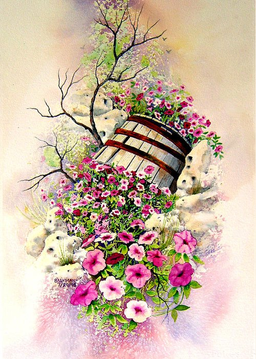 Floral Greeting Card featuring the painting Tipsy Whiskey Barrel by Brooke Lyman