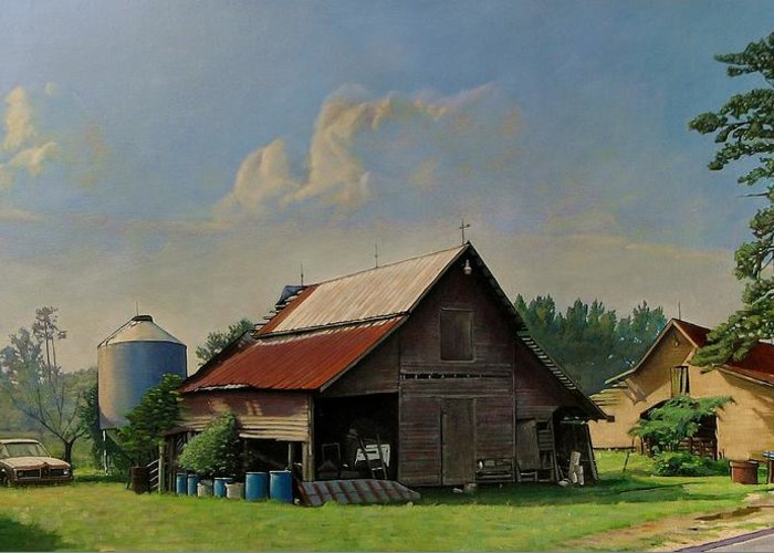 Doug Strickland Greeting Card featuring the painting Tired And Retired by Doug Strickland