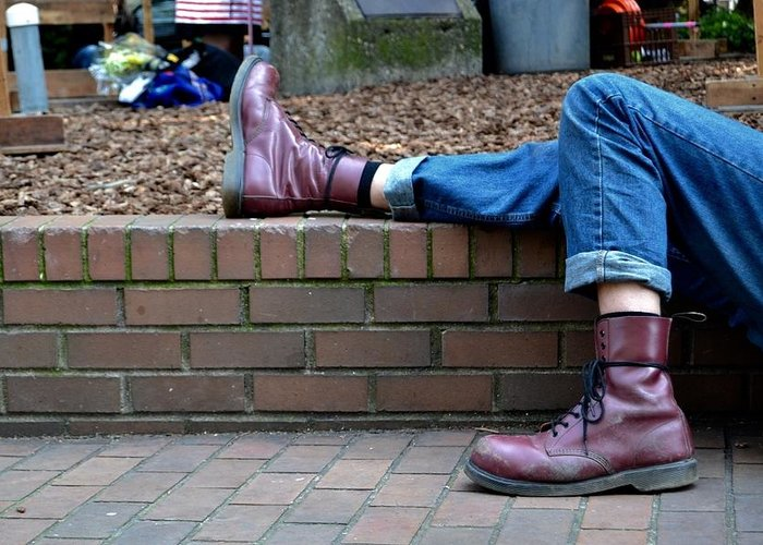 Boot Greeting Card featuring the photograph Tired Boots by Anna Lucas