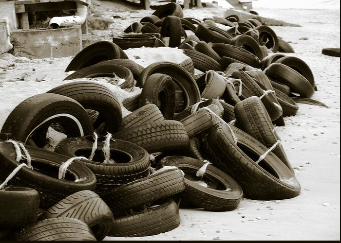 Tires Greeting Card featuring the photograph Tires by LeeAnn Alexander
