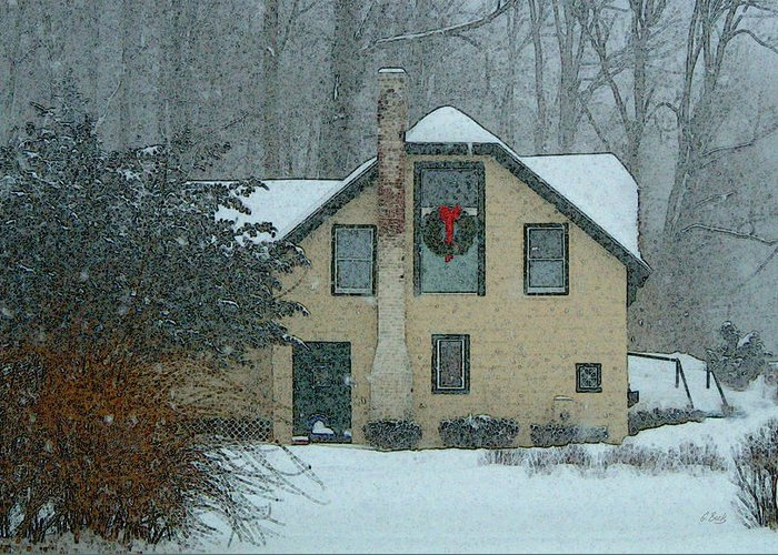 Brandywine Pennsylvania Carriage House Rural Country Snow Snowy Woodsy Kennett Square Greeting Card featuring the photograph Tis The Season by Gordon Beck