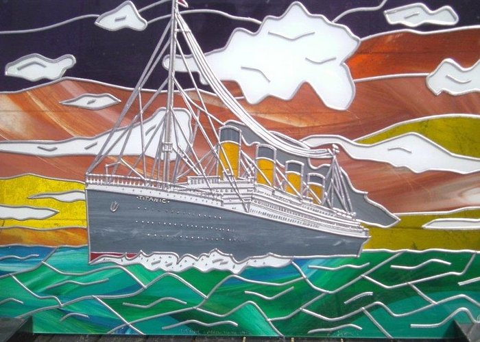 Titanic Greeting Card featuring the glass art Titanics Last Sunset In Beautiful Stained Glass. by Robin Jeffcoate