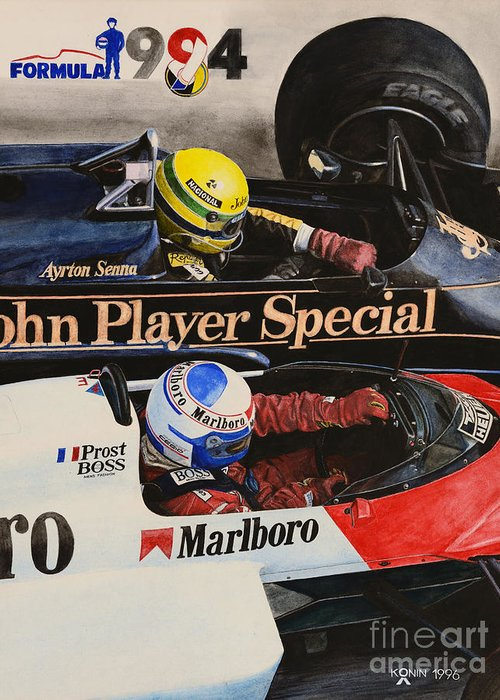 Ayrton Senna Greeting Card featuring the painting Titans' Battle by Oleg Konin