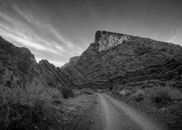 Black & White Greeting Card featuring the photograph Titus Canyon Road by Peter Tellone