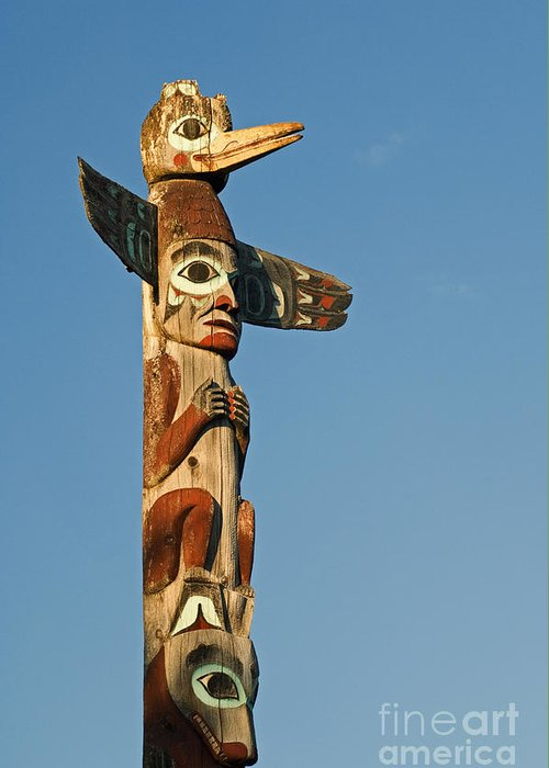 Alaskan Greeting Card featuring the photograph Tlingit Totem Pole by Greg Vaughn - Printscapes