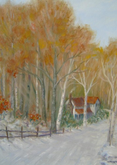 Country Road; House; Snow Greeting Card featuring the painting To Grandma's House by Ben Kiger