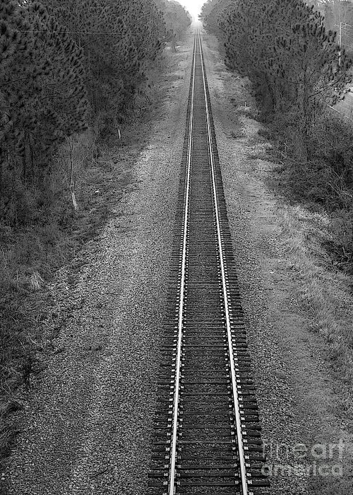 Railroad Track Greeting Card featuring the photograph To Infinity...and Beyond by David Bearden