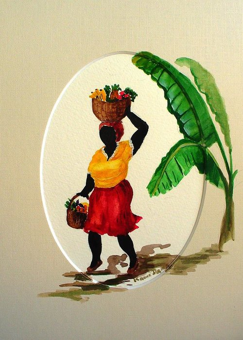 Caribbean Market Womanfruit & Veg Greeting Card featuring the painting To Market by Karin Dawn Kelshall- Best