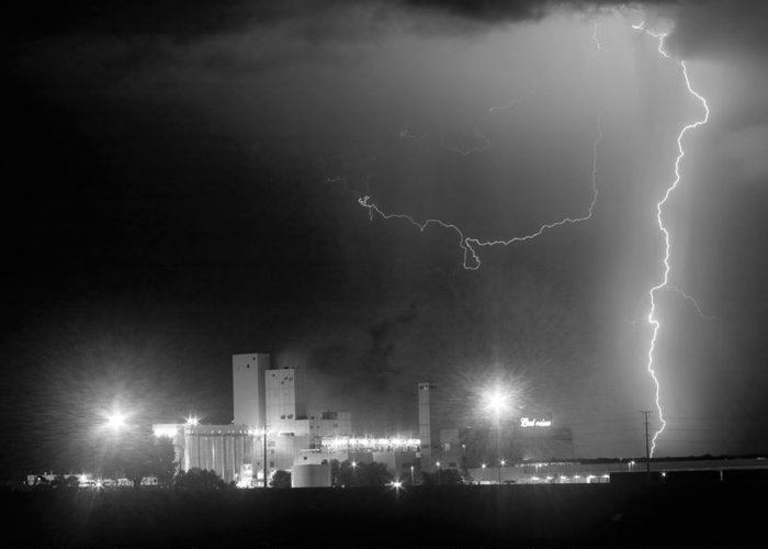 Budweiser Greeting Card featuring the photograph To The Right Budweiser Lightning Strike Bw by James BO Insogna