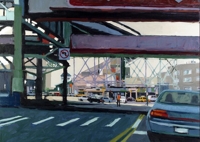 Urban Greeting Card featuring the painting To The Triboro by Patti Mollica