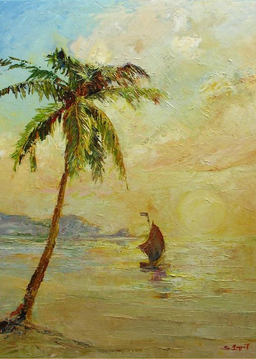 Landscape Greeting Card featuring the painting To The West by Tigran Ghulyan