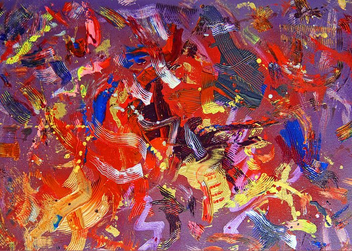 Abstract Greeting Card featuring the painting To Voice by Robert W Dunlap
