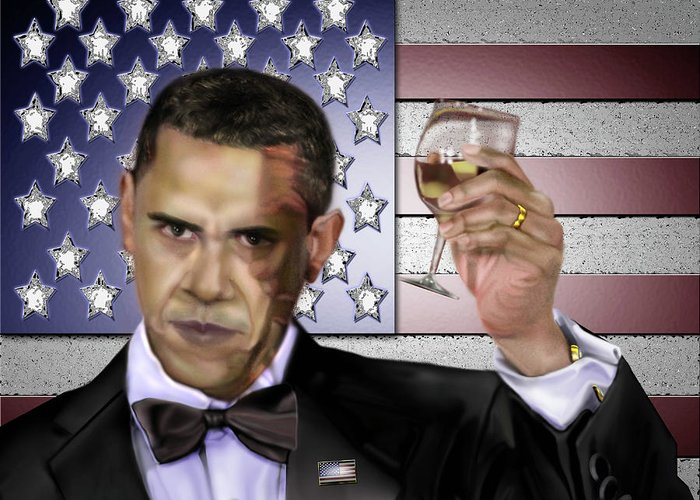 Barack Obama Greeting Card featuring the painting Toast - Respect by Reggie Duffie