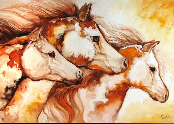 Equine Greeting Card featuring the painting Tobiano Horse Trio by Marcia Baldwin