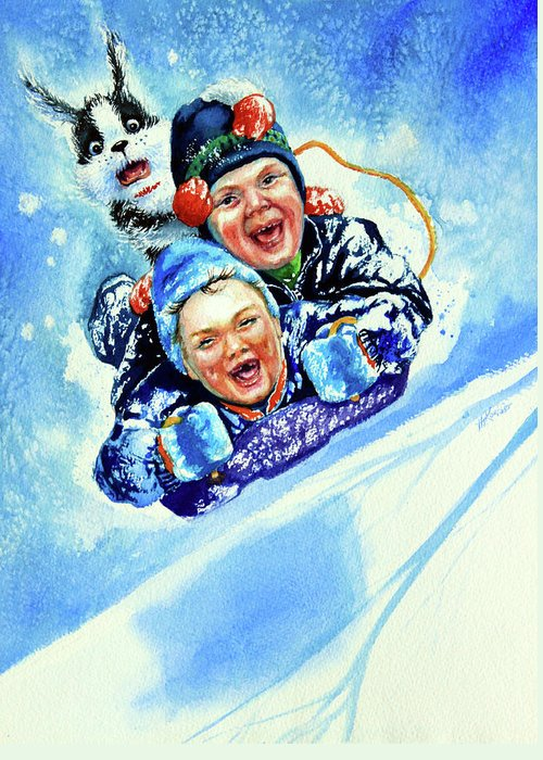 Children Playing Greeting Card featuring the painting Toboggan Terrors by Hanne Lore Koehler