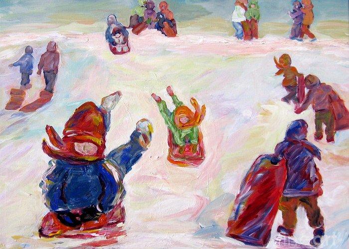 Children Tobagganing Greeting Card featuring the painting Tobogganing by Naomi Gerrard