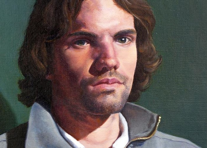 Portrait Greeting Card featuring the painting Toby by Deborah Allison