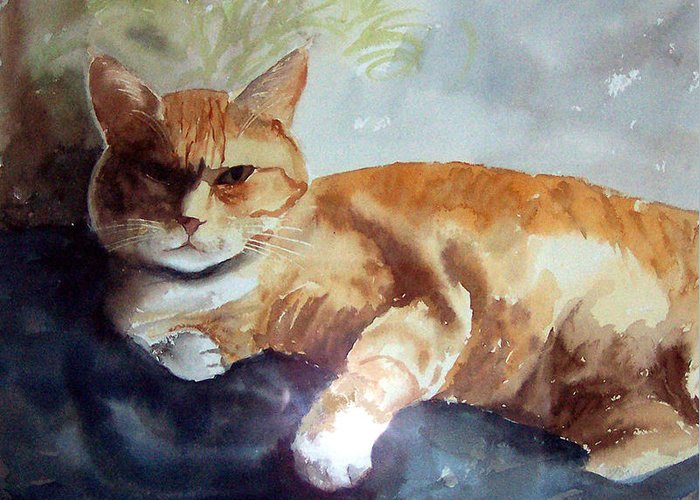 Cat Greeting Card featuring the print Toby The Best Cat Ever by Anne Trotter Hodge