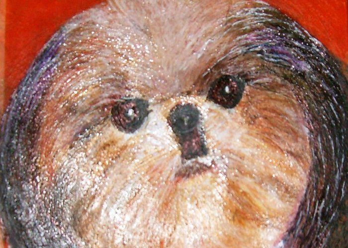 Acrylic Greeting Card featuring the painting Toby The Cutest Doggie by Anne-Elizabeth Whiteway