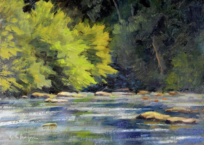 Impressionism Greeting Card featuring the painting Toccoa Rush by Keith Burgess