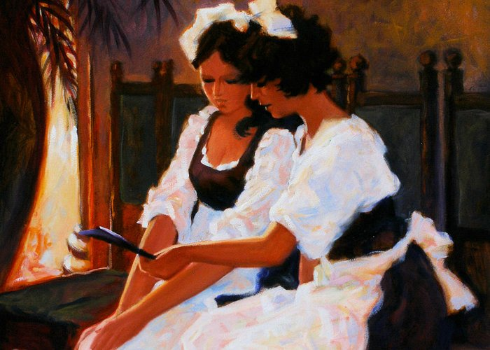 Interior Scene Greeting Card featuring the painting Today's Special by Kevin Lawrence Leveque