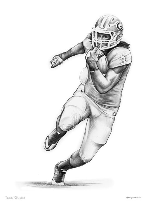 Running Back Drawings Greeting Cards