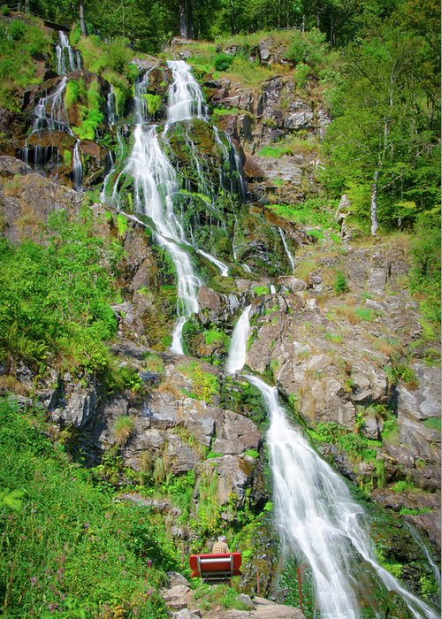 Waterfall Greeting Card featuring the photograph Todtnau Waterfall, Black Forest, Germany by Ina Kratzsch