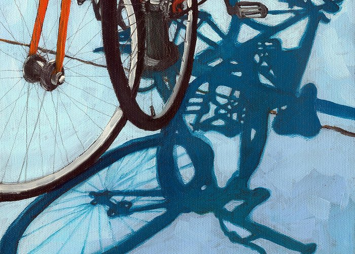 Blue Greeting Card featuring the painting Together - City Bikes by Linda Apple